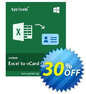 SysTools Excel to vCard (Enterprise License) Coupon discount SysTools coupon 36906. Promotion: