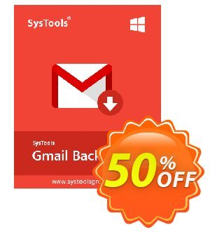 SysTools GMail Backup (50 Users) Coupon, discount SysTools coupon 36906. Promotion: