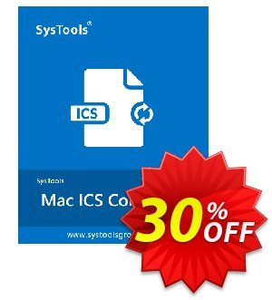 SysTools Mac ICS Converter Business License Coupon, discount 30% OFF SysTools Mac ICS Converter Business License, verified. Promotion: Awful sales code of SysTools Mac ICS Converter Business License, tested & approved