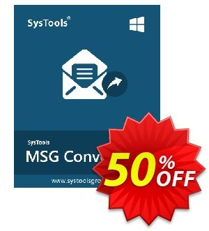 SysTools MSG to EML Converter (Enterprise License) 優惠券,折扣碼 SysTools coupon 36906,促銷代碼: