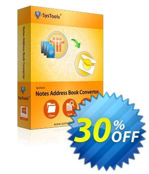 Notes Address Book Converter - Personal License Coupon, discount SysTools coupon 36906. Promotion: