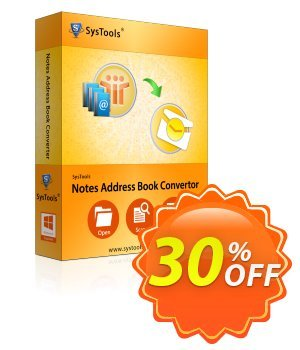 Notes Address Book Converter - Business License Coupon, discount SysTools coupon 36906. Promotion: