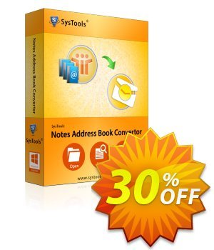 SysTools Notes Address Book Converter (Enterprise) 優惠券,折扣碼 SysTools coupon 36906,促銷代碼: