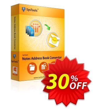 SysTools Notes Address Book Converter (Enterprise) 프로모션 코드 SysTools coupon 36906 프로모션: