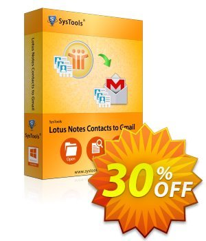 SysTools Lotus Notes Contacts to Gmail (Business) 優惠券,折扣碼 SysTools coupon 36906,促銷代碼:
