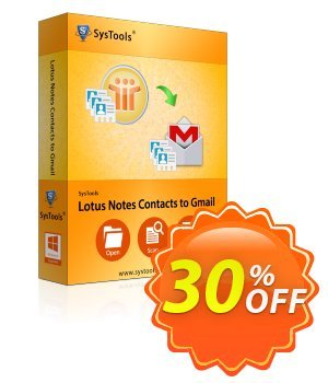 Lotus Notes Contacts to Gmail - Enterprise License Coupon, discount SysTools coupon 36906. Promotion:
