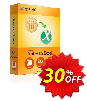 Notes to Excel - Personal License Coupon, discount SysTools coupon 36906. Promotion: