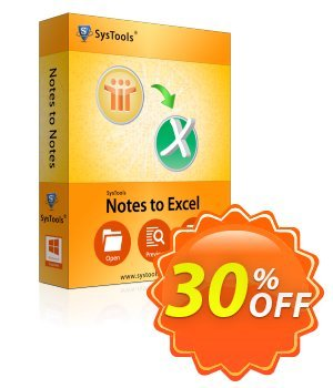 SysTools Notes to Excel (Business) Coupon discount SysTools coupon 36906. Promotion: