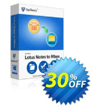 Lotus Notes to MBOX Converter - Business License Coupon, discount SysTools coupon 36906. Promotion: