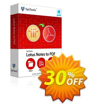 Lotus Notes to PDF - Personal License Coupon, discount SysTools coupon 36906. Promotion: