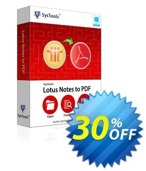 SysTools Lotus Notes to PDF Converter (Business) 優惠券,折扣碼 SysTools coupon 36906,促銷代碼: