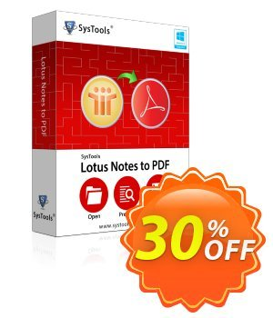 Lotus Notes to PDF - Enterprise License Coupon, discount SysTools coupon 36906. Promotion: