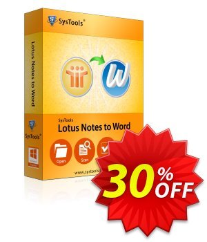 Lotus Notes to Word - Enterprise License Coupon, discount SysTools coupon 36906. Promotion:
