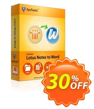 SysTools Lotus Notes to Word (Enterprise) Coupon discount SysTools coupon 36906. Promotion: