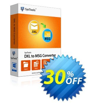 SysTools DXL to MSG Converter (Enterprise) 優惠券,折扣碼 SysTools coupon 36906,促銷代碼: