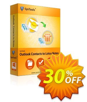 Outlook Contacts to Lotus Notes - Business License Coupon, discount SysTools coupon 36906. Promotion: