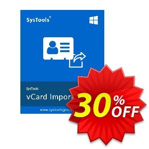 SysTools vCard Importer (Enterprise) Coupon, discount SysTools coupon 36906. Promotion:
