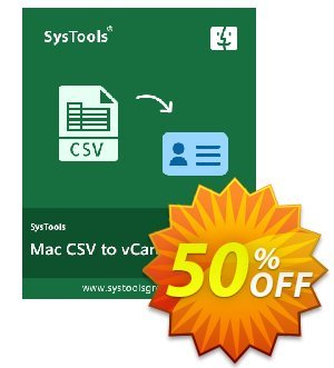CSV to vCard for MAC - Personal License Coupon, discount SysTools coupon 36906. Promotion: