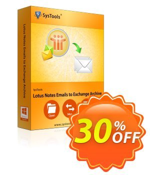 SysTools Lotus Notes Emails to Exchange Archive Coupon discount SysTools Summer Sale. Promotion: