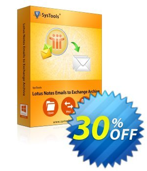 Lotus Notes Emails to Exchange Archive - Business License Coupon, discount SysTools coupon 36906. Promotion: