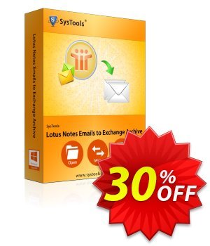 Lotus Notes Emails to Exchange Archive - Enterprise License Coupon, discount SysTools coupon 36906. Promotion: