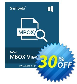 MBOX Viewer Pro (100 User License) Coupon, discount SysTools coupon 36906. Promotion: