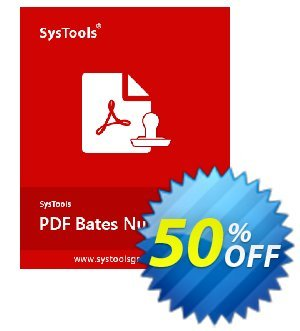 PDF Bates Numberer - Personal License Coupon, discount SysTools coupon 36906. Promotion: