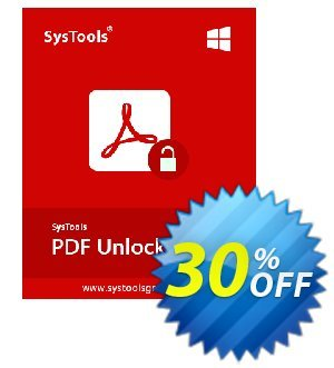 SysTools PDF Unlocker (Business) Coupon, discount SysTools coupon 36906. Promotion: