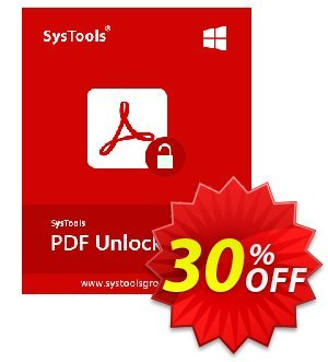 SysTools PDF Unlocker (Enterprise) Coupon, discount SysTools coupon 36906. Promotion: