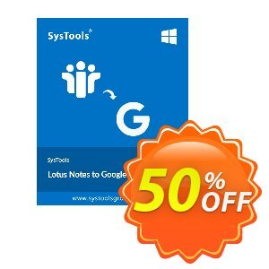 Lotus Notes to Google Apps - 50 Users License Coupon, discount SysTools Summer Sale. Promotion:
