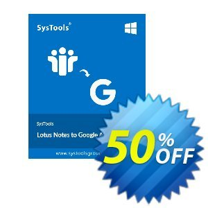 Lotus Notes to Google Apps - More Than 1000 Users License Coupon, discount SysTools coupon 36906. Promotion: