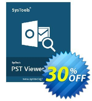 Outlook PST Viewer Pro - 10 Users License Coupon, discount SysTools coupon 36906. Promotion:
