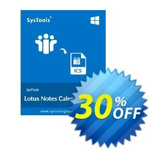 SysTools Lotus Notes Calendars to iCalendar .ICS (Enterprise) Coupon, discount SysTools coupon 36906. Promotion: