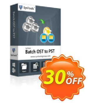 Batch OST to PST Converter - Business License Coupon, discount SysTools coupon 36906. Promotion: