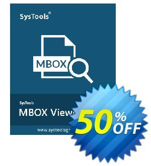 MBOX Viewer Pro Plus - 50 User License Coupon, discount SysTools coupon 36906. Promotion:
