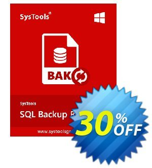 SQL Backup Recovery - Personal License Coupon, discount SysTools coupon 36906. Promotion: