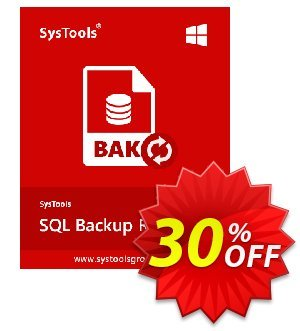 Systools SQL Backup Recovery (Business License) Coupon, discount SysTools coupon 36906. Promotion: