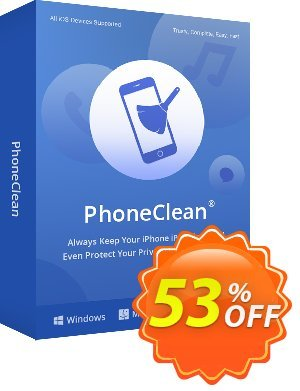 PhoneClean Pro for Mac - family license Coupon, discount Coupon Imobie (39968). Promotion: $20 discount offer for PhoneClean Pro Family License.