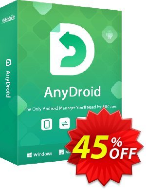 iMobie AnyDroid for MAC Lifetime license offering sales 45% OFF AnyDroid for MAC Lifetime license, verified. Promotion: Super discount code of AnyDroid for MAC Lifetime license, tested & approved