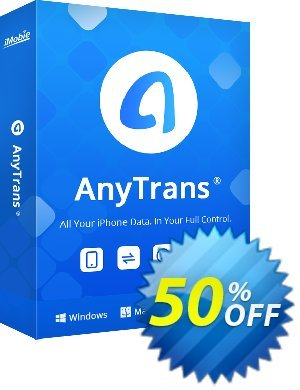 AnyTrans Coupon, discount Coupon Imobie (39968). Promotion: Pay $10 to upgrade your PhoneTrans Pro or PodTrans Pro to AnyTrans.