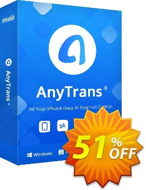 AnyTrans for iOS (lifetime license) 優惠券,折扣碼 Coupon Imobie promotion 2 (39968),促銷代碼: Pay $10 to upgrade your PhoneTrans Pro or PodTrans Pro to AnyTrans.