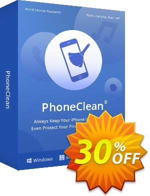 PhoneClean Pro offering sales PhoneClean Pro for Windows Stunning deals code 2020. Promotion: 30OFF Coupon Imobie