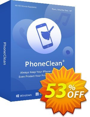 PhoneClean Pro - family license Coupon, discount Coupon Imobie (39968). Promotion: $20 discount offer for PhoneClean Pro Family License.