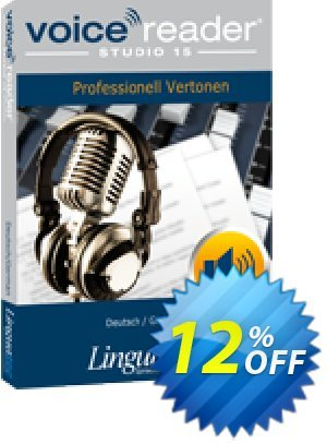 Voice Reader Studio 15 GED / Deutsch/German Coupon, discount Coupon code Voice Reader Studio 15 GED / Deutsch/German. Promotion: Voice Reader Studio 15 GED / Deutsch/German offer from Linguatec