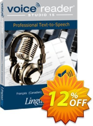 Voice Reader Studio 15 FRC / Français (Canadien)/French (Canadian) Coupon, discount Coupon code Voice Reader Studio 15 FRC / Français (Canadien)/French (Canadian). Promotion: Voice Reader Studio 15 FRC / Français (Canadien)/French (Canadian) offer from Linguatec