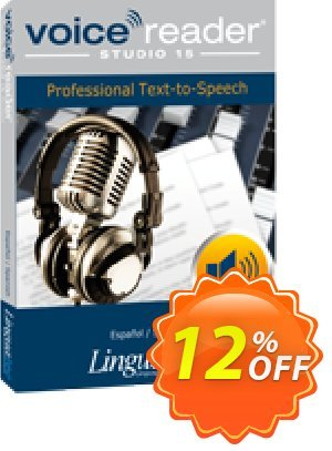 Voice Reader Studio 15 SPE / Español/Spanish Coupon, discount Coupon code Voice Reader Studio 15 SPE / Español/Spanish. Promotion: Voice Reader Studio 15 SPE / Español/Spanish offer from Linguatec