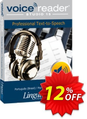 Voice Reader Studio 15 PTB / Português (Brasil)/Portuguese (Brazilian) Coupon, discount Coupon code Voice Reader Studio 15 PTB / Português (Brasil)/Portuguese (Brazilian). Promotion: Voice Reader Studio 15 PTB / Português (Brasil)/Portuguese (Brazilian) offer from Linguatec