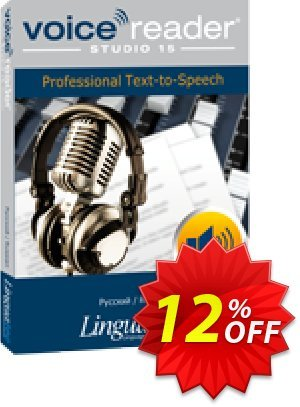 Voice Reader Studio 15 RUR / Pycckuú/Russian Coupon, discount Coupon code Voice Reader Studio 15 RUR / Pycckuú/Russian. Promotion: Voice Reader Studio 15 RUR / Pycckuú/Russian offer from Linguatec