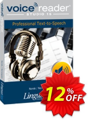 Voice Reader Studio 15 NON / Norsk/Norwegian Coupon, discount Coupon code Voice Reader Studio 15 NON / Norsk/Norwegian. Promotion: Voice Reader Studio 15 NON / Norsk/Norwegian offer from Linguatec