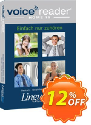 Voice Reader Home 15 English (Australian) - Male voice [Lee] Coupon, discount Coupon code Voice Reader Home 15 English (Australian) - Male voice [Lee]. Promotion: Voice Reader Home 15 English (Australian) - Male voice [Lee] offer from Linguatec